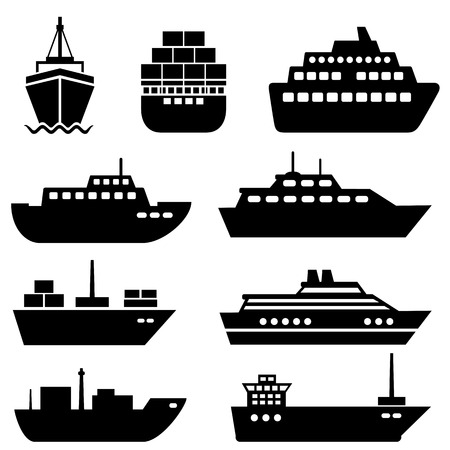 container freight: Ship and boat icon set