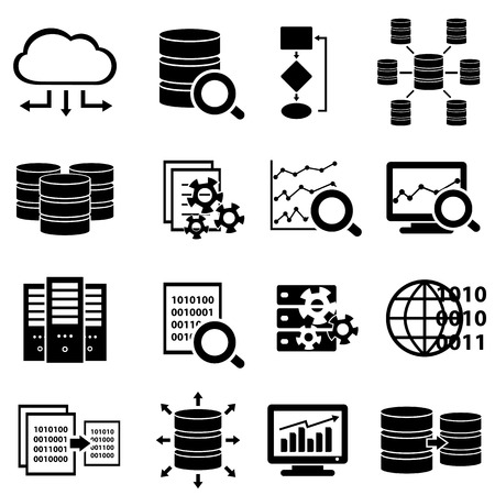 network server: Big data and technology icon set