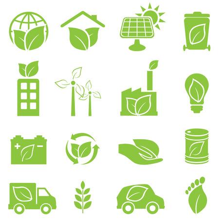 eco car: Ecol�gico y el medio ambiente conjunto de iconos Verde Vectores