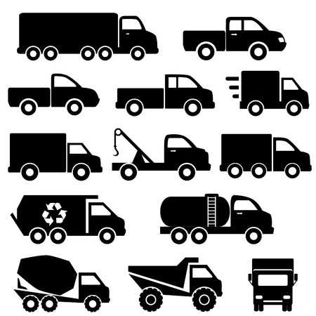 white truck: Truck icon set in black