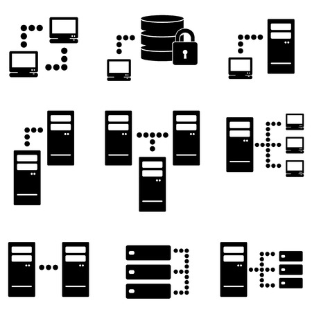 Server, big data and technology icon set