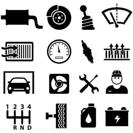 車の修理店やメカニックのアイコンを設定  イラスト・ベクター素材