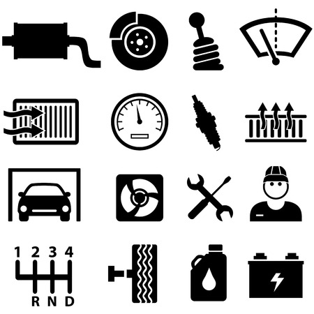 Car repair shop and mechanic icon set