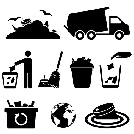 Garbage, trash and waste icon set
