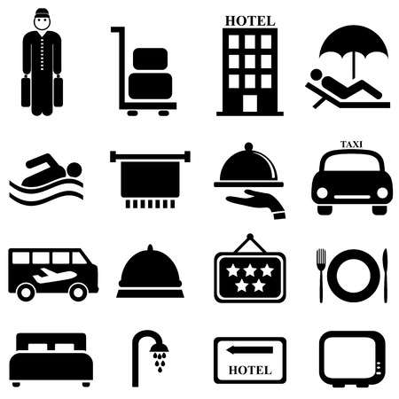Hotel and hospitality icon set Vector