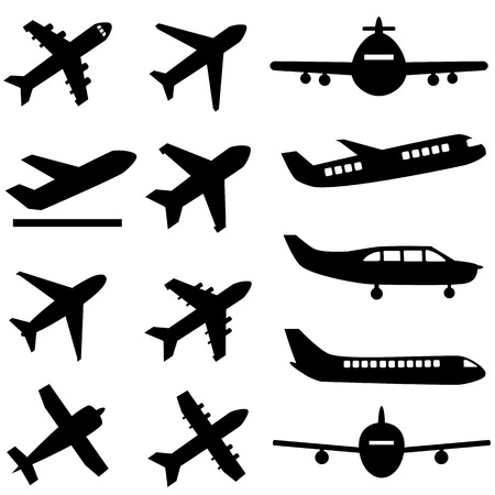 cargo plane: Various planes in black
