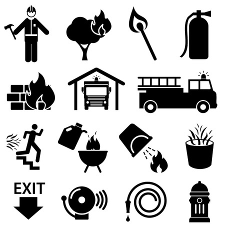 camion de bomberos: Icono de la seguridad contra incendios en negro Vectores