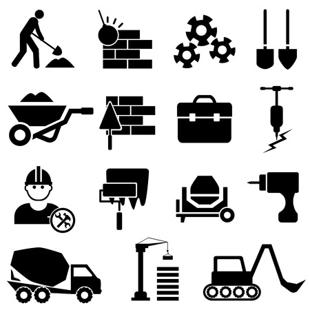 Construction and heavy machinery icon set