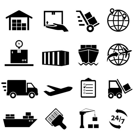Shipping, cargo and logistic icon set Stock Illustratie