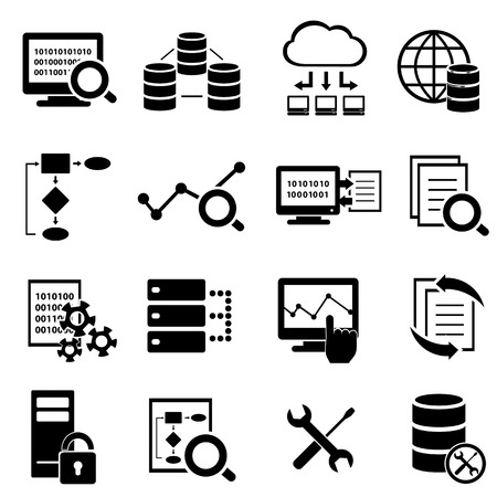 Big data, cloud computing en technologie icon set Stock Illustratie