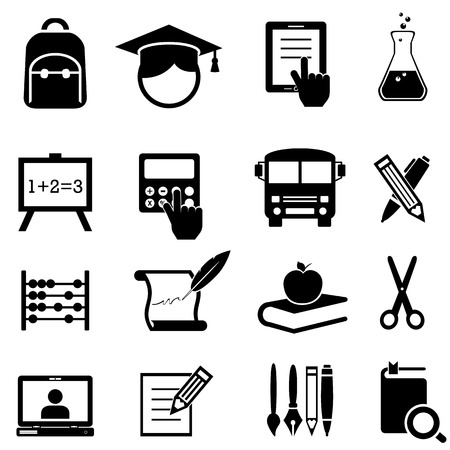 Back to school, learning and education icon set