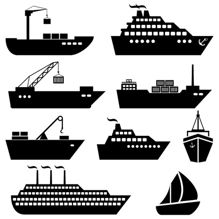 containers: Ships, boats, cargo, logistics, transportation and shipping icons