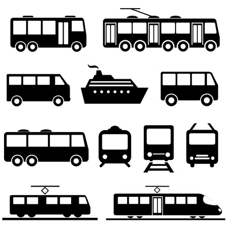 transportation silhouette: Bus, ship, train public transportation icon set