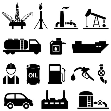 Olie, benzine, petroleum en benzine icon set Stock Illustratie