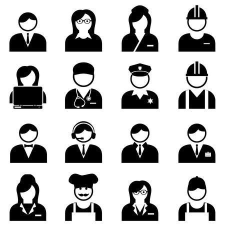 Blue and white collar professionals and workers icon set Illustration