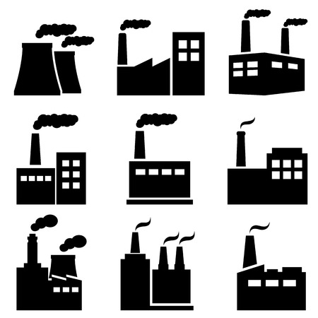 Factory, power plant, nuclear plant industrial icons Ilustrace