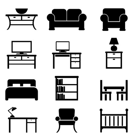 Home furniture icon set in black Illustration