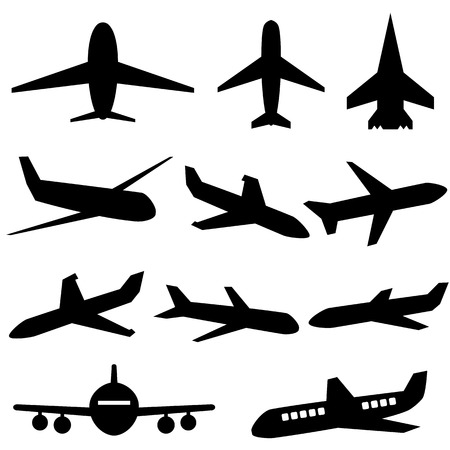 Plane icons in black on white background