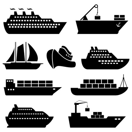 szállítás: Hajók, csónakok, rakomány, logisztika, szállítás és hajózás ikonok
