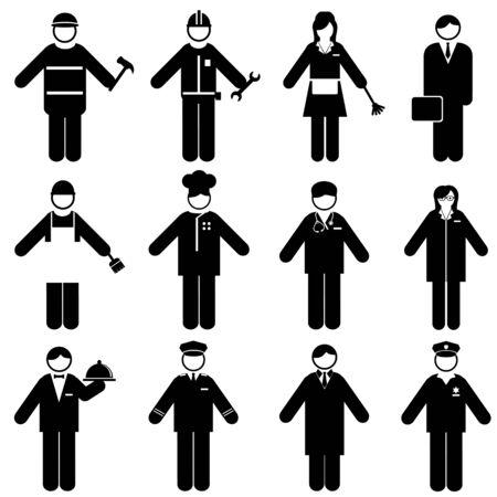 Professions and occupations icon set Illusztráció