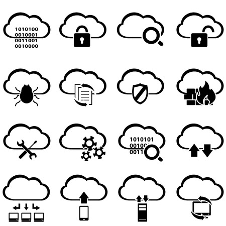 Big data and cloud computing icon set