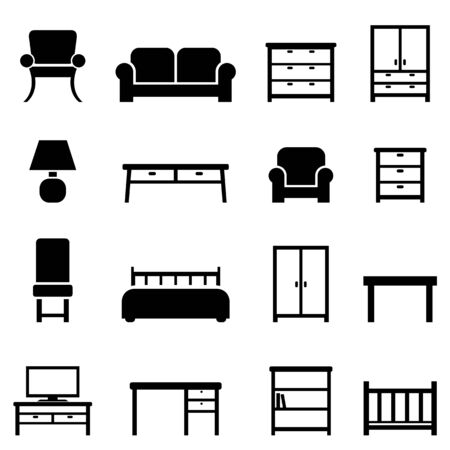 home office interior: Home decor and furniture icon set
