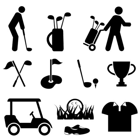 recreational: Golf and golf player icon set
