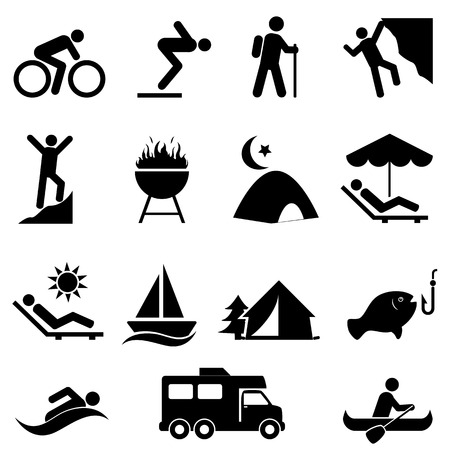 Outdoor, leisure and recreation icon set Stock Illustratie