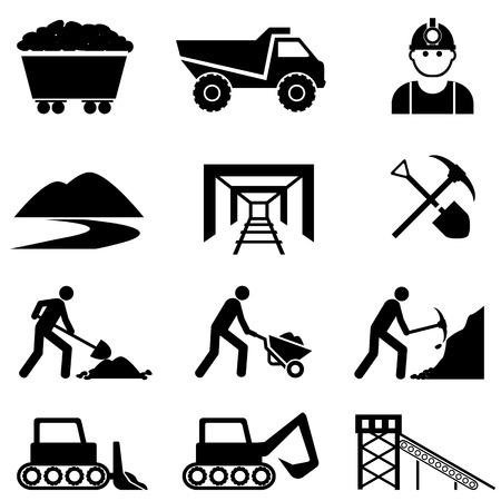 Mijnbouw en mijnwerker icon set Stock Illustratie