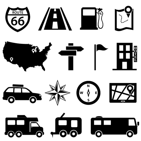 Road trip and travel icon set Ilustrace