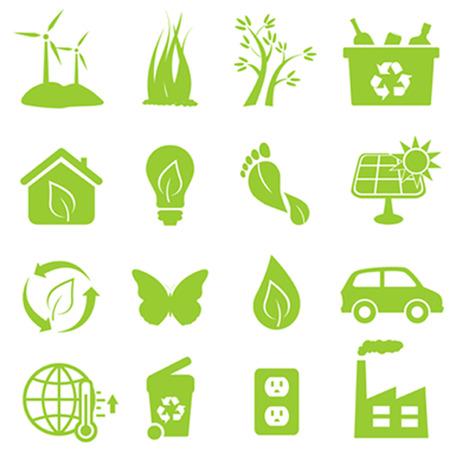 エコと環境のアイコンを設定  イラスト・ベクター素材