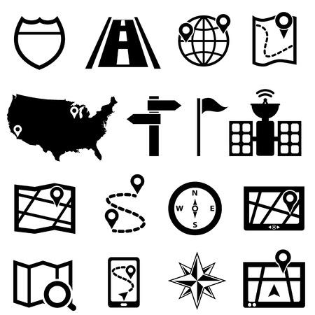 GPS, navigation and road icon set