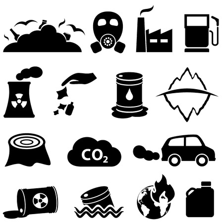 hazardous waste: Pollution, global warming and environment icons Illustration