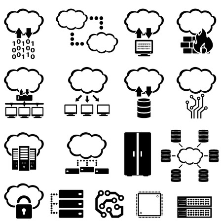 Big data, technology and cloud computing icons