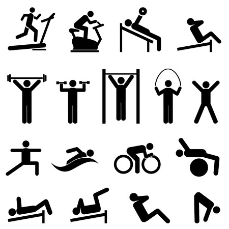 Exercise, fitness, health and gym icon set Vettoriali
