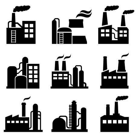 industrial icon: Industrial building, power plant and factory icon set