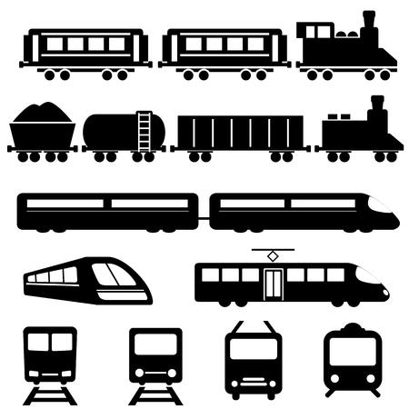 Tren, metro y tren de transporte conjunto de iconos Ilustración de vector