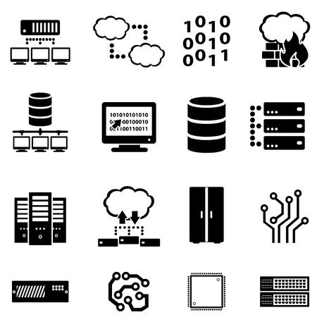 Computers, data, cloud computing icon set