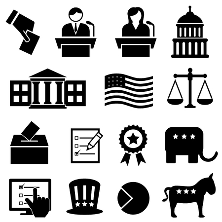 Election and voting icon set Vettoriali