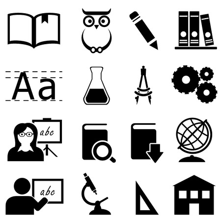 school class: Education, learning and school icon set Illustration