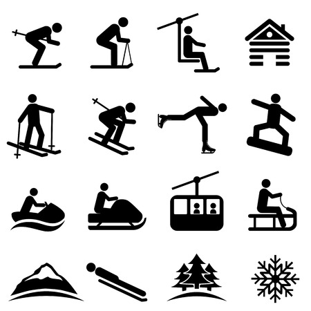 Ski, snow and winter icon set Çizim