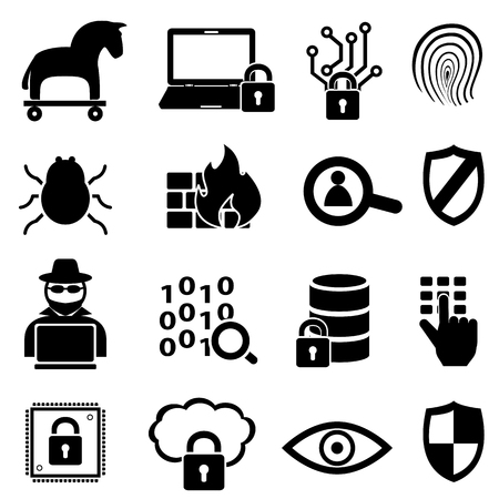 security icon: Cyber security, online, computer and data icon set