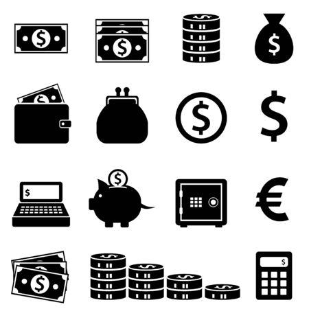 Money, banking and finance icon set Ilustrace