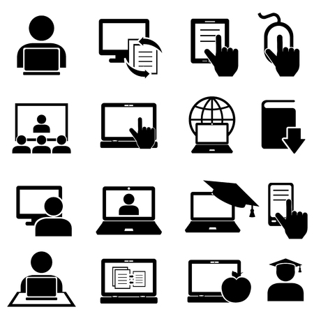 Online education and learning icon set