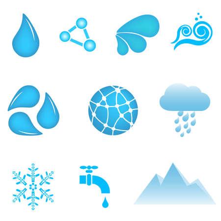 Water en behoud icon set
