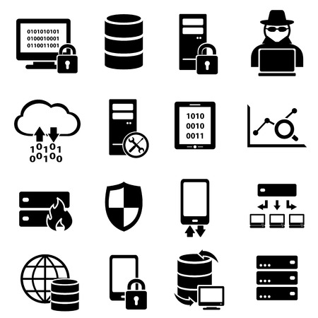 Computer, big data, technology icon set
