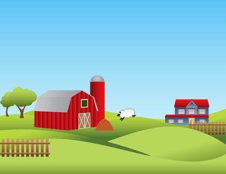 rolling landscape: Farm landscape with rolling hills Illustration