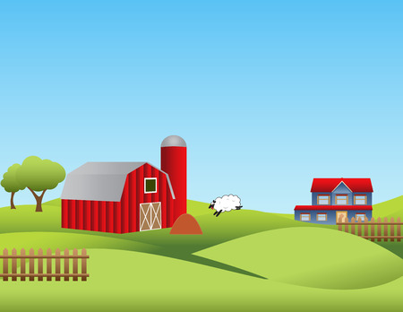 Farm landscape with rolling hills Illustration