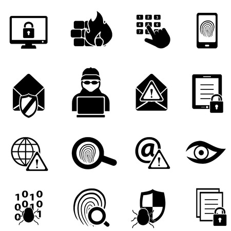 malware: Cybersecurity, virus, malware and computer security icons