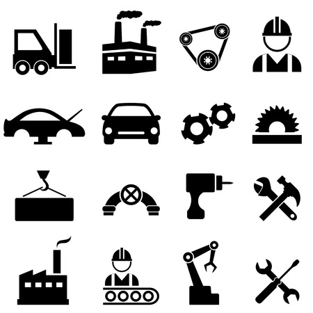Factory, manufacturing and industry icons Çizim
